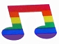 Rainbow Musical Note  (10 per Sheet) Stickers