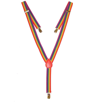 Rainbow Suspenders with Red Leather Patch