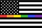 Black White Rainbow American Flag Sticker