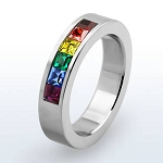 Rainbow Stones Channel Set Ring