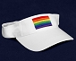 Rainbow Flag Embroidered White Visor