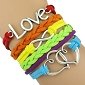 Rainbow Heart Infinite Love Leather Wrap Bracelet