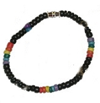 (3) Rainbow Puka Bead Black Bead Necklace
