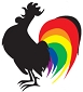 Rainbow Rooster Cling Sticker