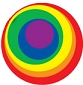 Rainbow Bullseye Cling Sticker