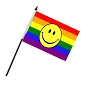 Rainbow Smiley Face 4'' x 6'' Flag on a Stick
