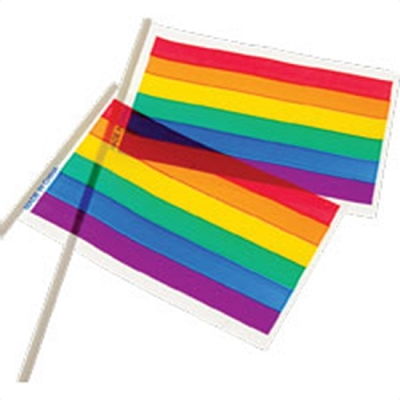 PLASTIC Rainbow 4'' x 6'' Flag on a Stick (pack of 12)