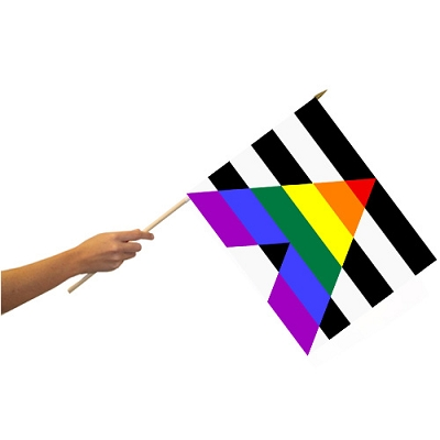 Straight Ally 12'' x 18'' Flag on a Stick