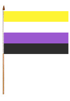 Non-Binary 12'' x 18'' Flag on a Stick