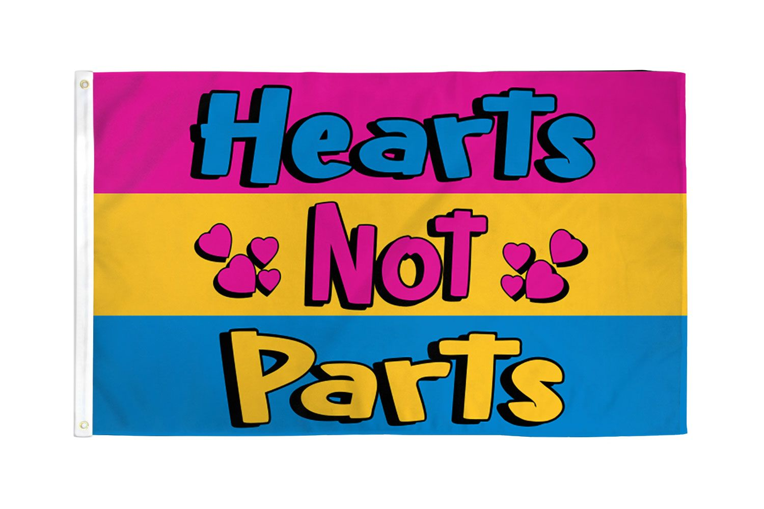 Pansexual Pride: Hearts not Parts Flag 3ft x 5ft  Printed Polyester