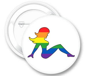 Mudflap Girl Rainbow Button