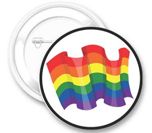 Rainbow Flag in Circle Button