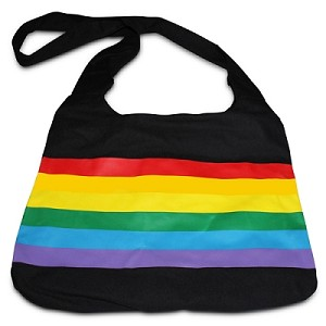 Rainbow Canvas Messenger Bag