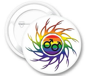 Eye of the Storm Rainbow Male Button