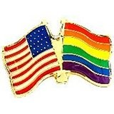 Rainbow Flag / American Flag (US) Lapel Pin