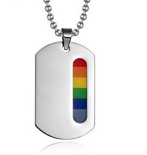 Rainbow Vertical Strip ID Tag/Necklace