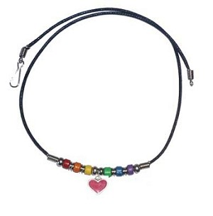 Rainbow Ceramic Beads with Heart Necklace