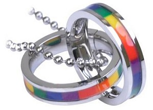 Interlocking Rainbow Rings Necklace