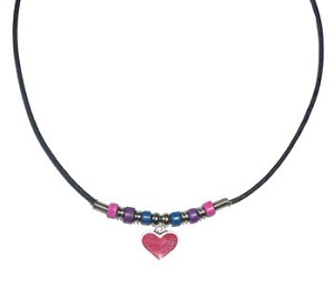 Bi Pride Beads with Heart Necklace