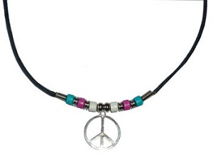 Trans Pride Beads with Peace Sign Necklace