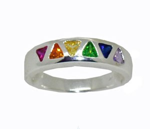 Rainbow Stones Sterling Silver Ring