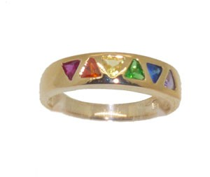 Rainbow Stones Gold Plated Ring