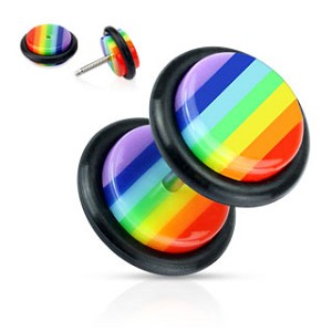 Rainbow Striped Acrylic Faux Plug with O-Ring