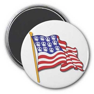 American Flag, Double Female Symbol Magnet