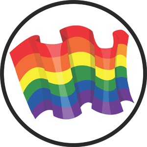 Rainbow Flag in Circle Mouse Pad