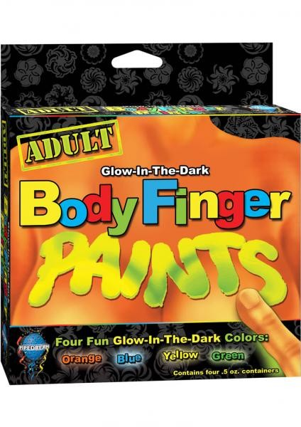 Body Finger Paints Glow In The Dark Assorted Colors