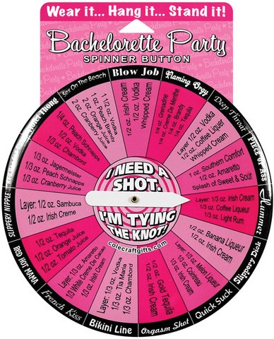 Bachelorette I Need A Shot Spinner Button - Wear It...Hang It...Stand It